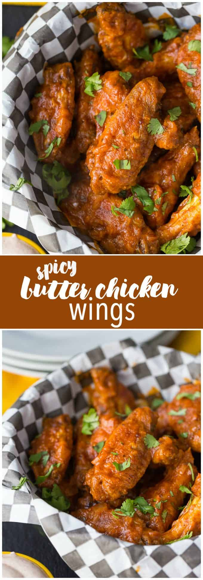 Spicy Butter Chicken Wings - Take your tailgate to India! These game day treats pack a little heat and a ton of flavor with a delicious dipping sauce.