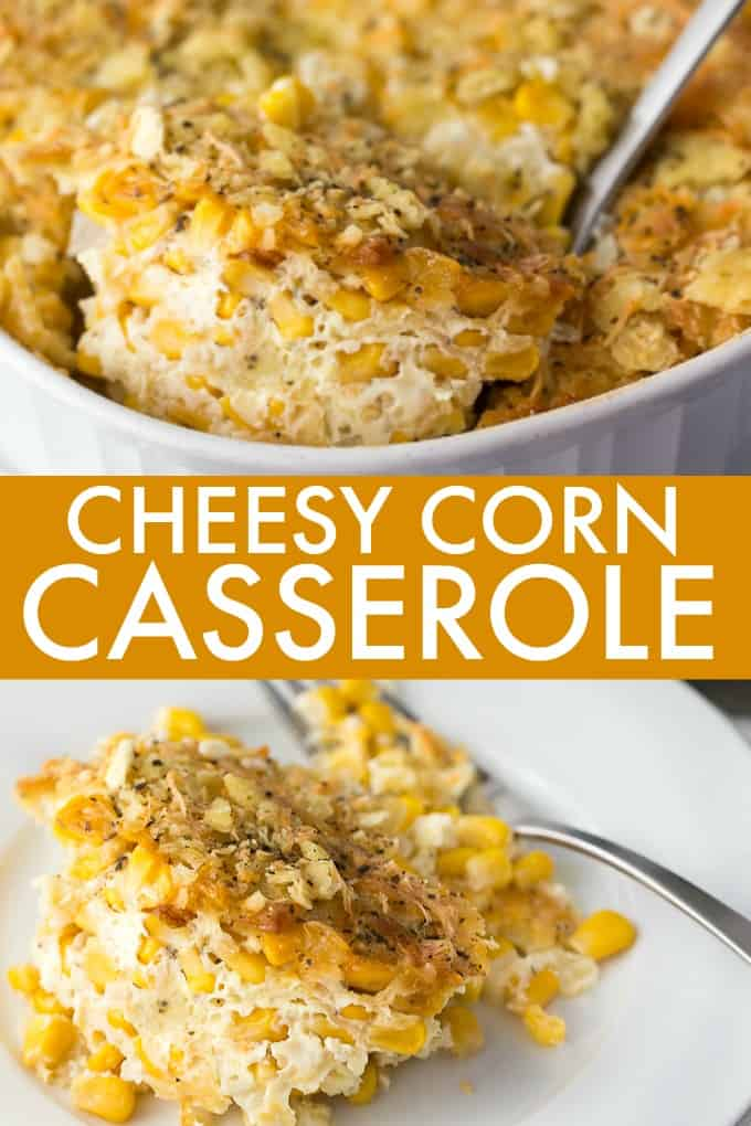 Cheesy Corn Casserole - A comforting casserole dish loaded with sweet corn, cheese and a crunchy soda cracker topping.