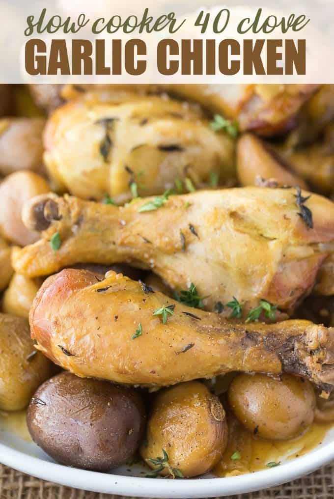 Slow Cooker 40 Clove Garlic Chicken - The most succulent chicken recipe ever! Bust out the garlic for this amazing Crockpot chicken and potatoes that are bursting with flavor.