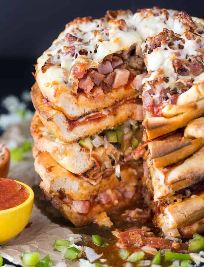 Pizza Cake - A pizza lover's dream! Every layer is a different flavor for when you can't decide between Meat Lovers and Canadian.