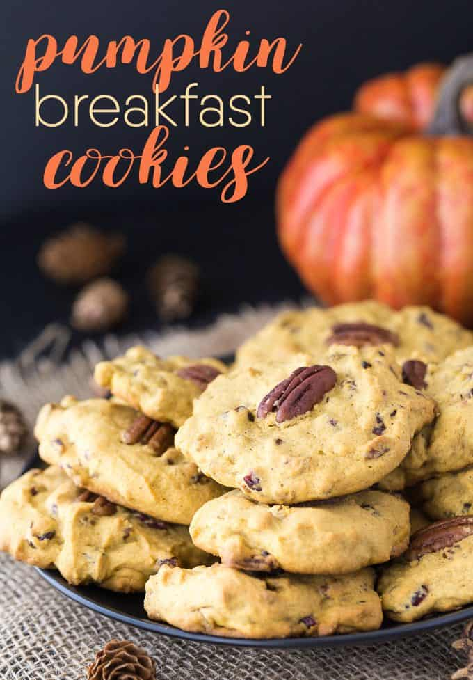 Pumpkin Breakfast Cookies - Soft, chewy and packed full of pecans, dried cranberries and pumpkin, these breakfast cookies are worth waking up for!