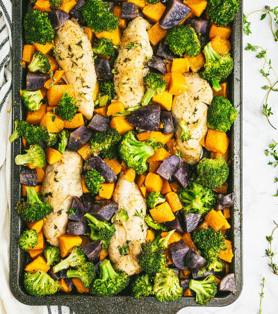 One-Pan Maple Dijon Chicken - This one-pan meal is perfect for those busy weeknights. You'll love the tender chicken baked with butternut squash, purple potatoes and broccoli roasted to perfection.
