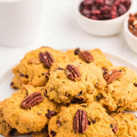 A plate of pumpkin breakfast cookies