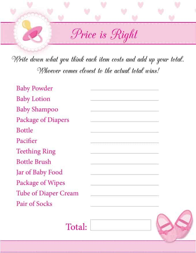photo regarding Price is Right Baby Shower Game Printable identified as 8 Totally free Printable Kid Shower Online games for Gals - Quickly Stacie