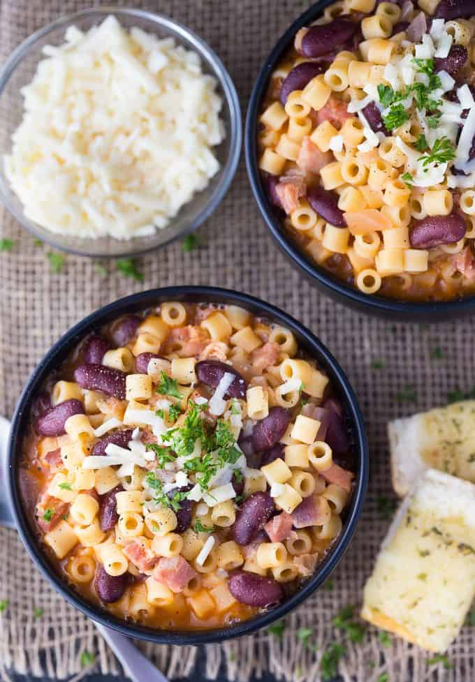 Pasta e Fagioli - This classic Italian noodle soup is so hearty and comforting! Pancetta and kidney beans mixed with fun round noodles and Asiago cheese.