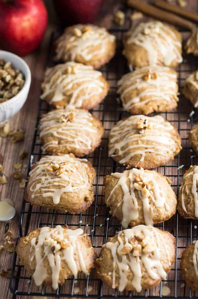 Caramel Apple Cookies - The perfect blend of cinnamon, apples and sweet caramel glaze. They practically melt in your mouth.
