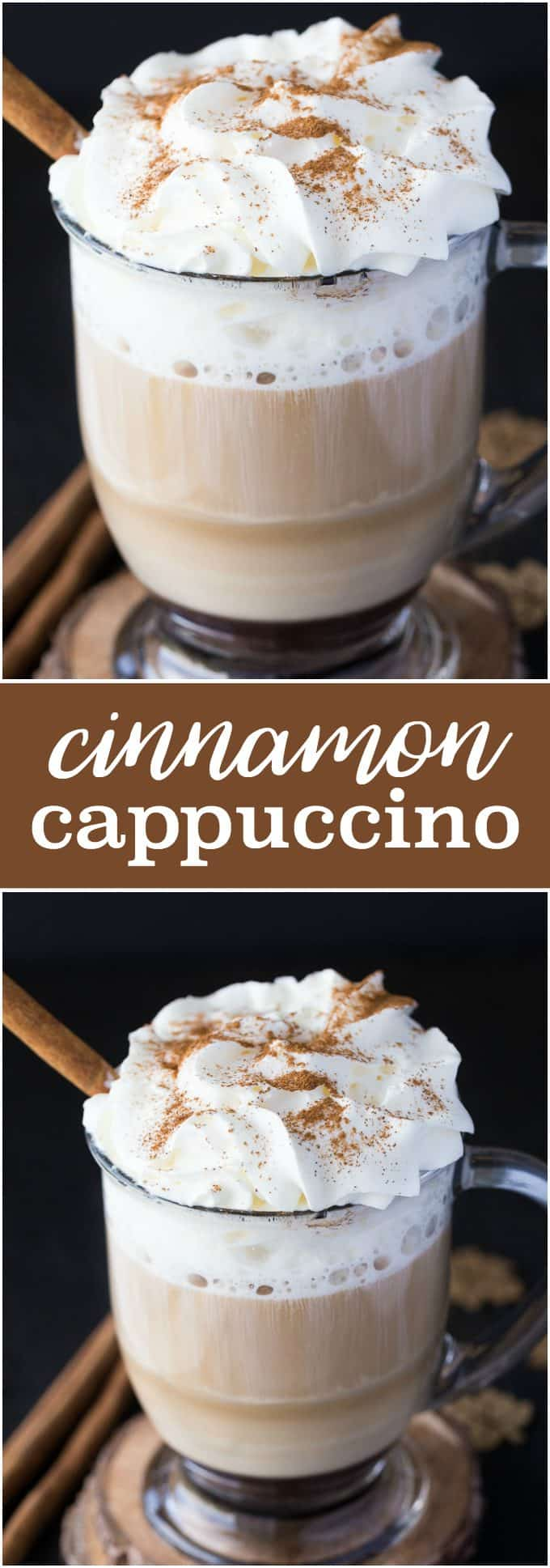 Cinnamon Cappuccino - Topped with whipped cream, the warm cinnamon and coffee flavours will warm you from the inside out.