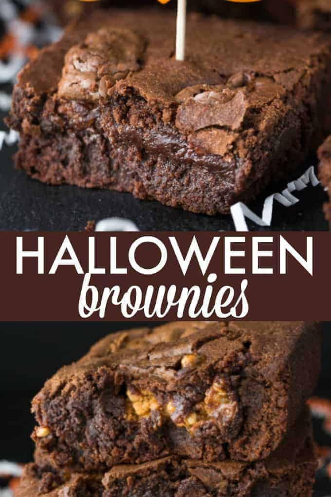 Halloween Brownies - Turn that Halloween candy into something more decadent! These brownies are just a hiding place for candy bars.