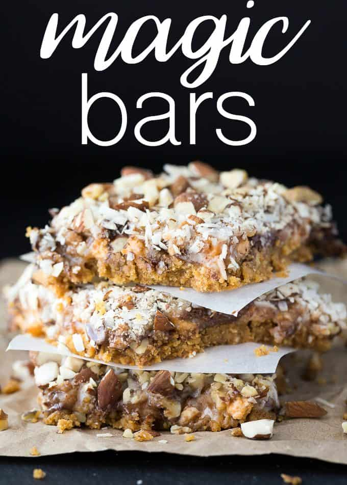 Magic Bars - Layers upon layers of sweetness! This decadent treat is filled with butterscotch, chocolate, toffee, coconut and nuts.