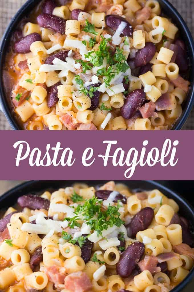 Pasta e Fagioli - Hearty and filling! This creamy pasta with beans will practically melt in your mouth.