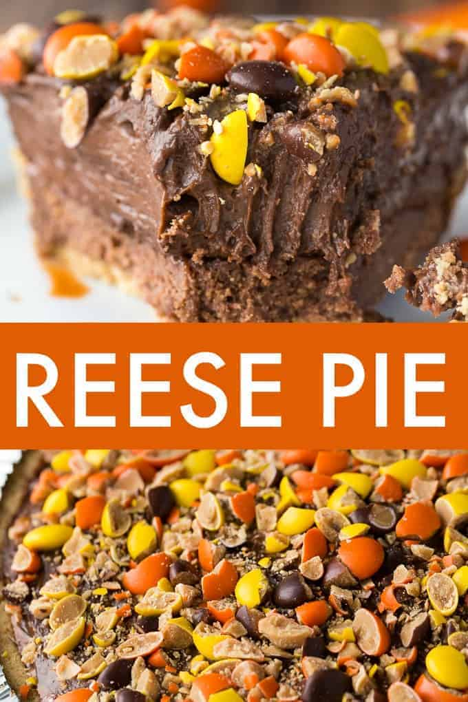 REESE Pie - This decadent no-bake dessert is all about REESE! It has a thick rich layer of REESE Spreads followed by a layer of REESE Peanut Butter Cups. Top that with a creamy, smooth chocolate/peanut butter pudding layer and a REESE'S Pieces colourful finish.