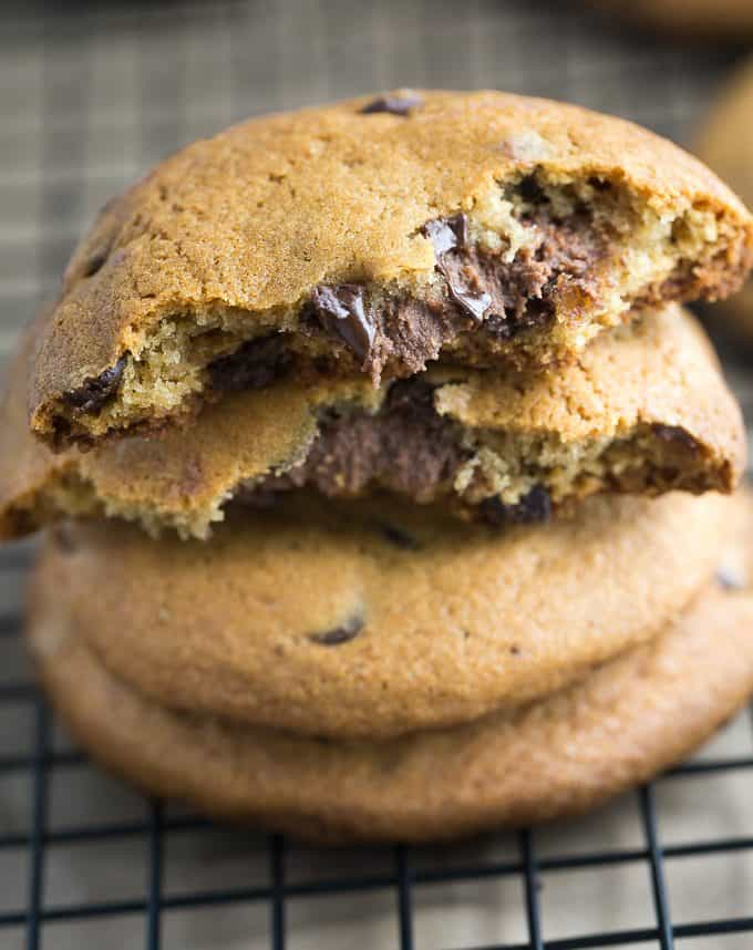 REESE Stuffed Chocolate Chip Cookies - Only TWO ingredients in this easy cookie dough hack!