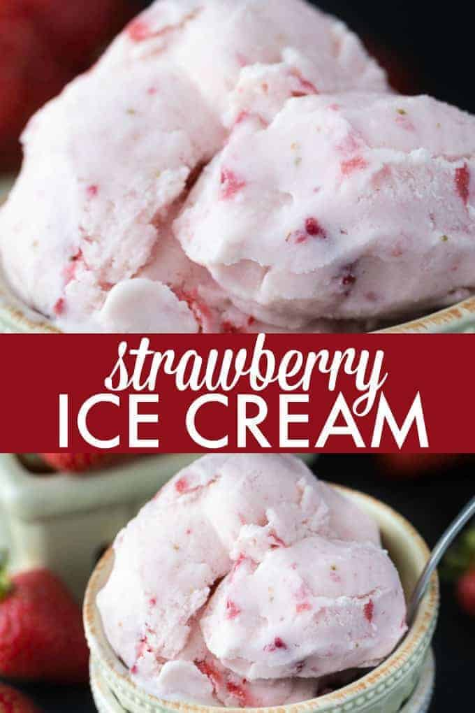 Strawberry Ice Cream - So creamy, sweet and luscious! This fresh ice cream recipe is ready in a matter of hours and super simple to make at home with your ice cream maker.