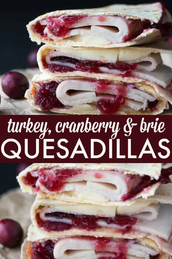 Turkey Cranberry & Brie Quesadillas - The best Thanksgiving leftover sandwich EVER. Wrap up all your holiday favorites with some melty brie in a warm tortilla.