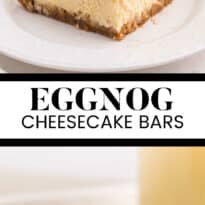 eggnog cheesecake bars collage