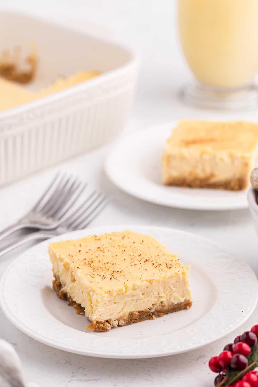 eggnog cheesecake bar on a white plate