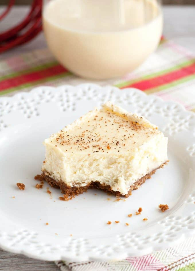 ... Bars - Creamy rich eggnog cheesecake with a spicy gingersnap cookie
