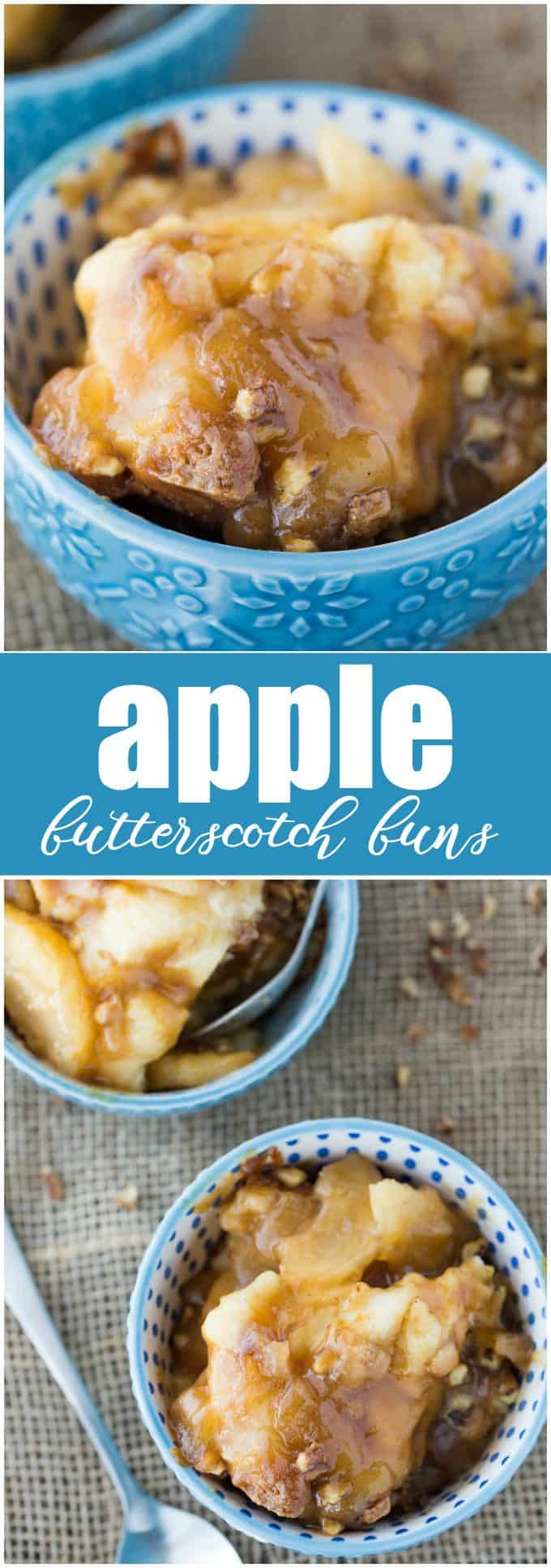 Apple Butterscotch Buns - Soft, tender buns topped with sweet apples, rich butterscotch sauce and chopped walnuts. This easy dessert will quickly become a favourite!