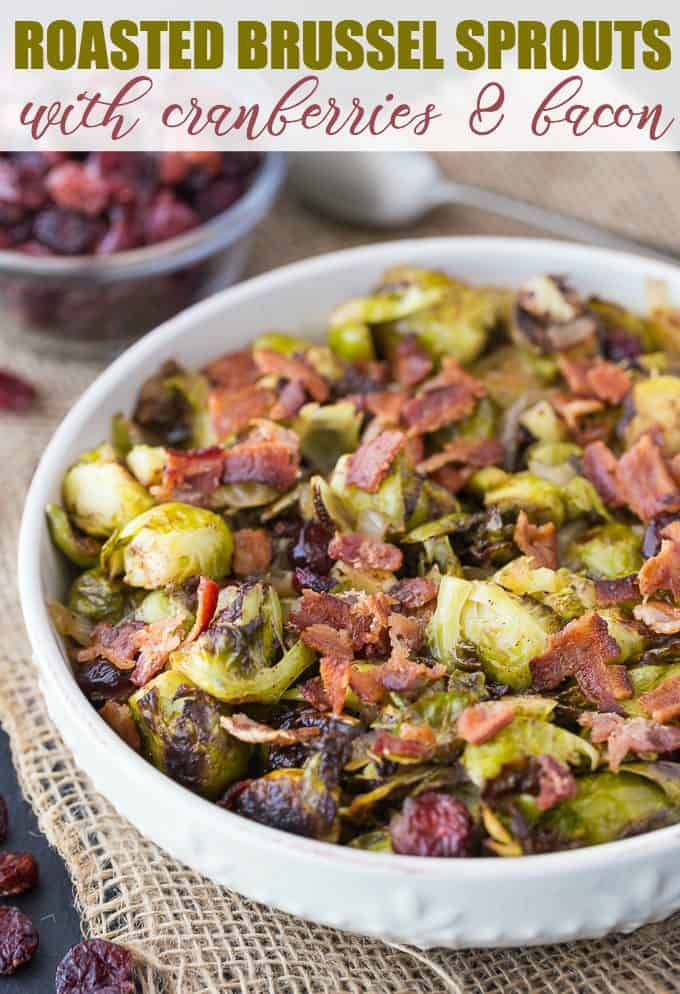 Roasted Brussel Sprouts with Cranberries & Bacon - Brussel Sprouts are roasted to perfection and topped with a sweet/savoury cranberry onion glaze. This recipe makes a wonderful addition to your holiday dinner table!