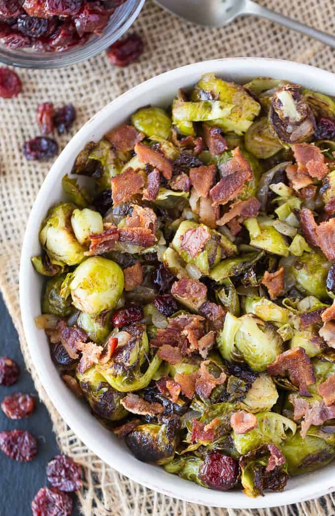 Roasted Brussel Sprouts with Cranberries & Bacon - Brussel Sprouts are ...