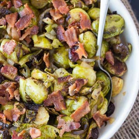 Roasted Brussel Sprouts with Cranberries & Bacon