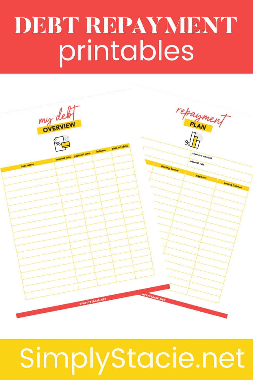 Debt Repayment Printables - Get organized and focused on improving your finances with these free debt repayment printables! This set includes a Debt Overview and Debt Repayment Plan.