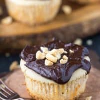 Mini Peanut Butter Cheesecakes with Chocolate Peanut Butter Sauce