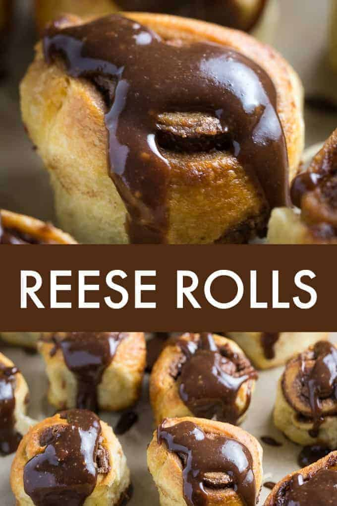 REESE Rolls - Similar to cinnamon rolls, but filled with a chocolate/peanut butter spread and topped with an equally rich glaze. You'll be glad this recipe makes 18 rolls!