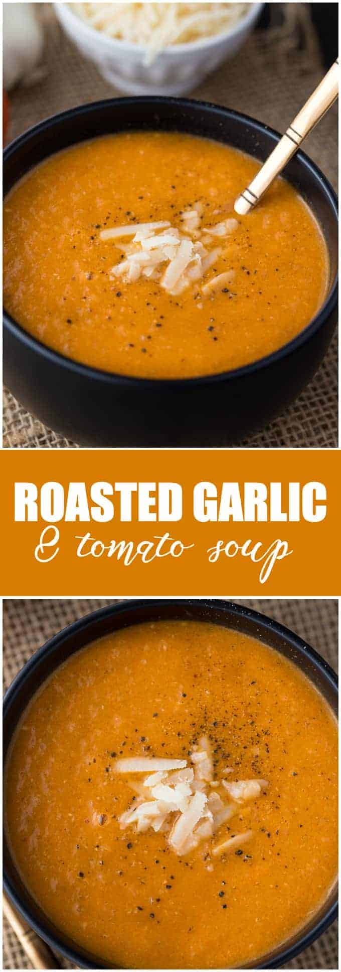 Roasted Garlic & Tomato Soup - A creamy, smooth soup with a spicy kick!