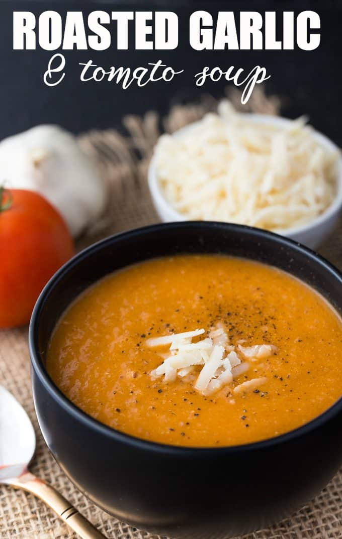 Roasted Garlic and Tomato Soup - Creamy and a little spicy, too! A yummy spin on a classic comfort food favorite. Add a little oven-roasted garlic to your favorite homemade soup for an extra kick.