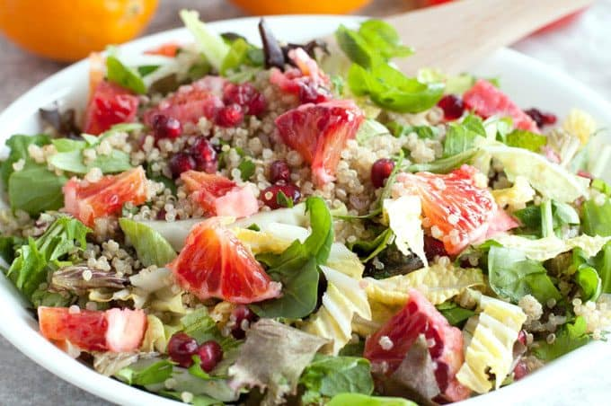 Winter Detox Salad - Light yet filling! Take a break from all the heavy winter comfort foods with this salad recipe of quinoa, pomegranate, and blood orange dressing.