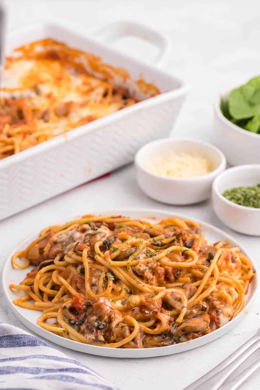 Spaghetti bake serve on a white plate