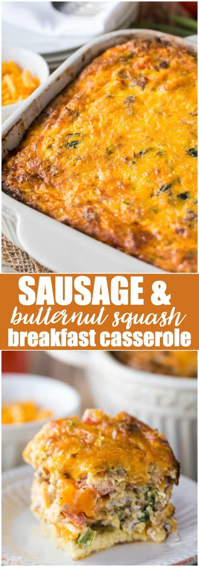 Sausage & Butternut Squash Breakfast Casserole - Butternut squash for breakfast? Yes! This sausage-laden breakfast casserole is a delicious twist on a traditional breakfast casserole.