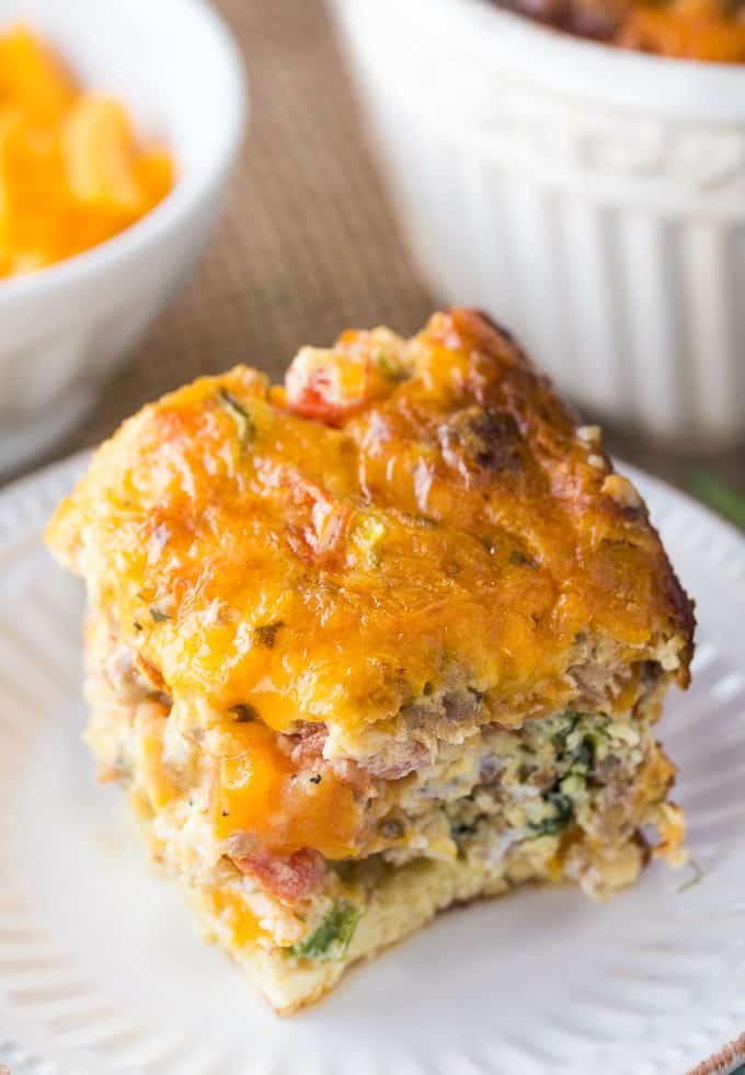 Sausage & Butternut Squash Breakfast Casserole - A delicious, hearty and easy breakfast casserole recipe perfect to serve to your holiday guests!