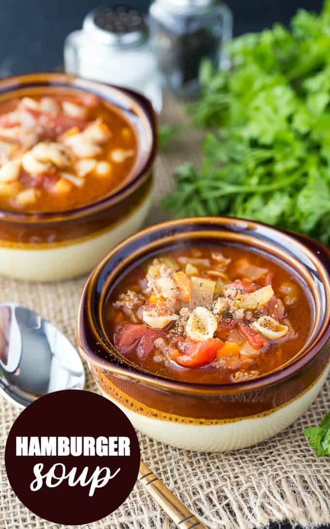 Hamburger Soup - A yummy winter soup recipe! This tomato-based soup is packed with vegetables and seasoned ground beef for the best burger in a bowl.