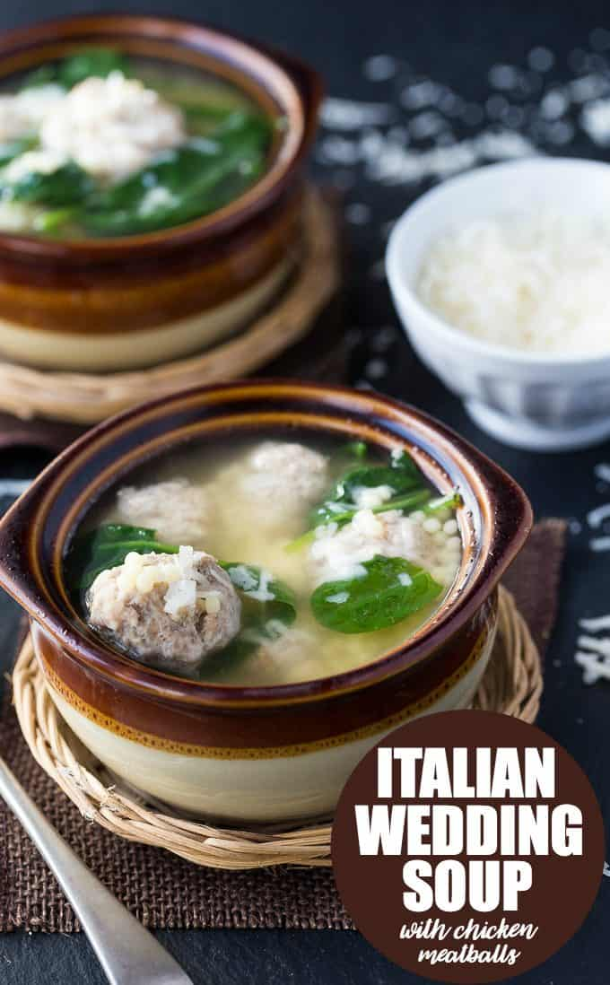 Italian Wedding Soup with Chicken Meatballs - Simply Stacie