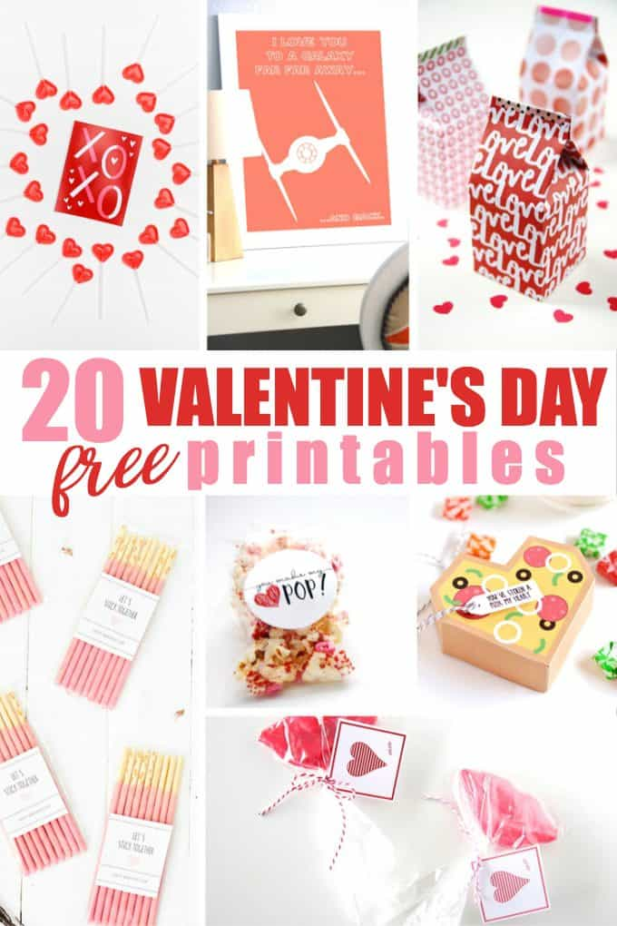 20 Free Valentine's Day Printables - Includes free Valentine's Day cards, decor and more!