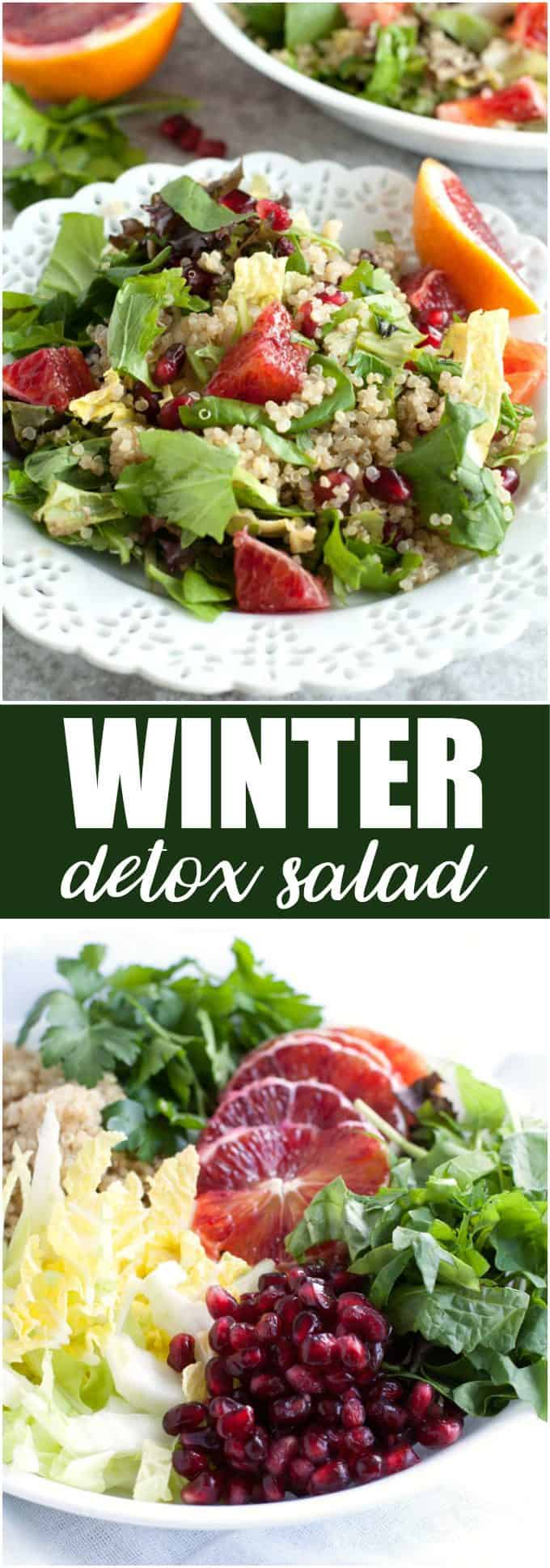 Winter Detox Salad - A bright, fresh winter salad packed with color, texture and nutrients! It's a satisfying meal on its own or as a side dish.