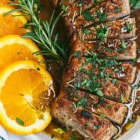 Orange Mustard Pork Tenderloin - Tender and juicy with amazing citrus flavor and on your table in 40 minutes.