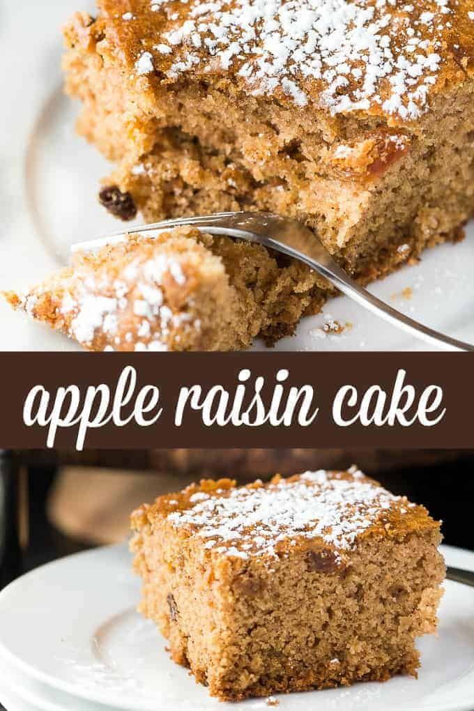 Apple Raisin Cake - This is the kind of cake I'd eat for breakfast! It tastes a little bit like a raisin bran muffin, but in a cake form. It's easy to make and so, so good!