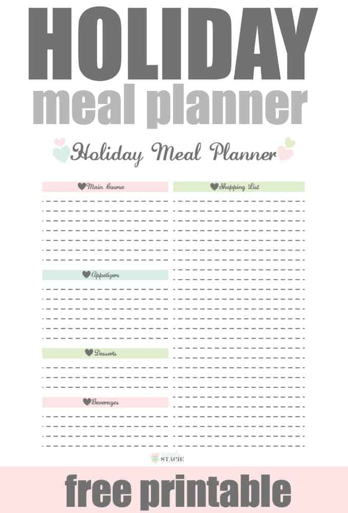 Holiday Meal Planner Free Printable - Plan out your next holiday meal or dinner party with family and friends with this free printable.