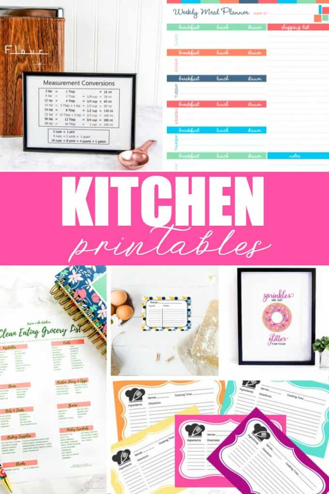 20 Free Kitchen Printables - Get your kitchen organized with the help of some free printables. You'll be glad you did!