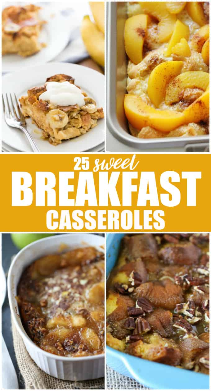 Sweet Breakfast Casseroles Grab a loaf of buttery brioche or challah and your trust 9xinch pan, because these sweet breakfast casseroles are your ticket to an easy and impressive French toast breakfast on Christmas morning.