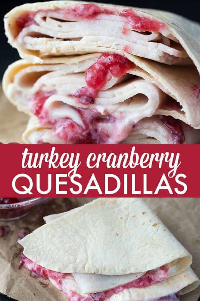 Turkey Cranberry Quesadillas - Easy peasy! Sliced turkey deli meat is smothered in creamy mayonnaise and sweet cranberry sauce.