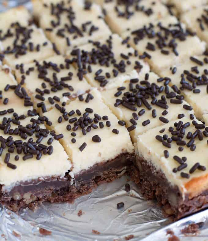 Cheesecake Squares with a Chocolate Nut Crust - Rich, creamy cheesecake squares with a chocolate walnut crust. One bite and you'll be in cheesecake heaven!