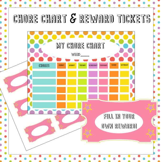 Free Chore Chart & Reward Tickets Printable - Motivate and organize your kids to earn their keep around the house!