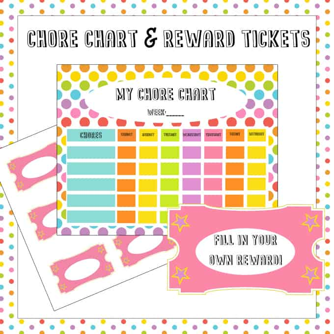 free chore chart  u0026 reward tickets printable