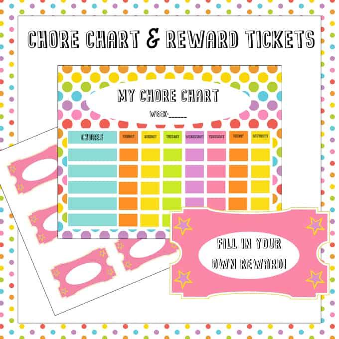 free chore chart  u0026 reward tickets printable