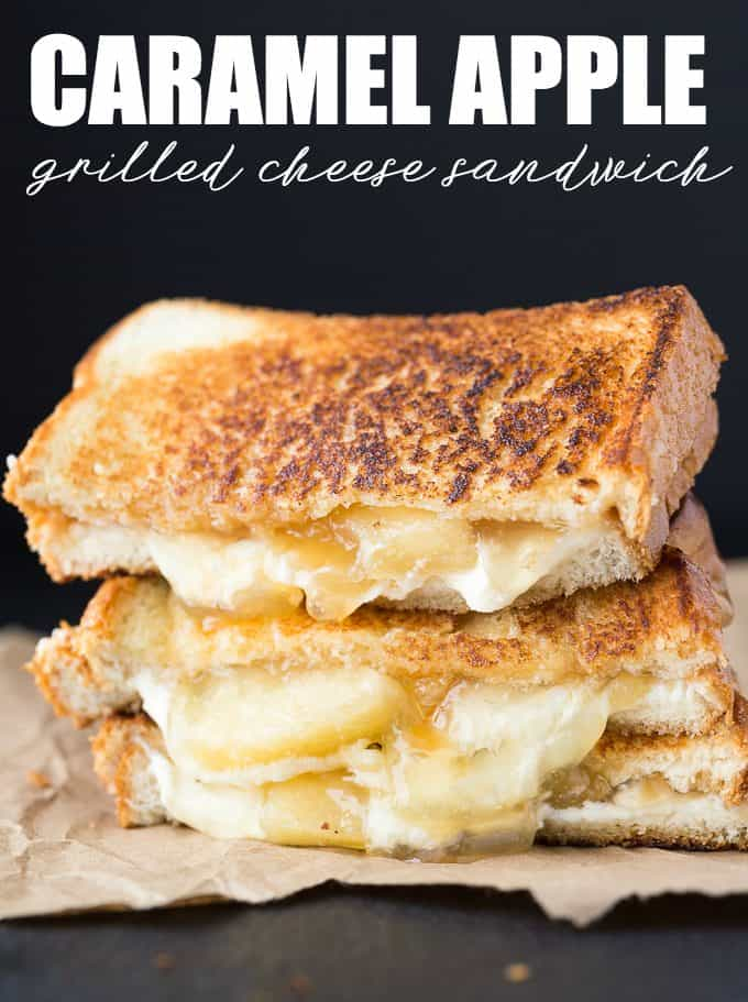 Caramel Apple Grilled Cheese Sandwich - The best dessert grilled cheese! This sandwich tastes just like caramel apple cheesecake with easy pie filling and mascarpone cheese.