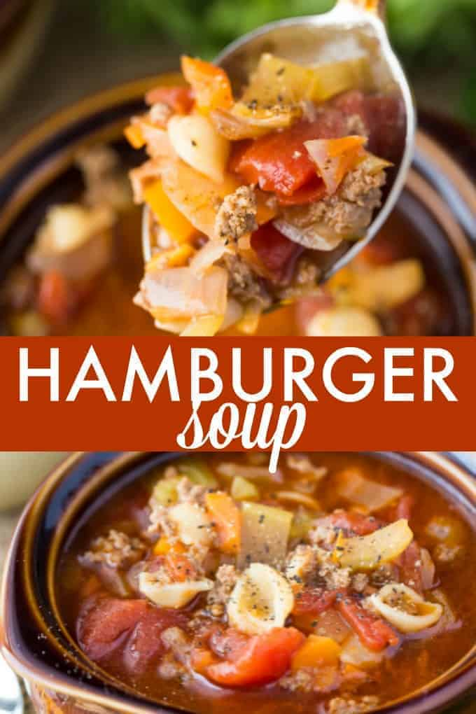 Hamburger Soup - My version of my grandma's favourite soup. It's hearty, filling and flavourful. Enjoy a piping hot bowl on a cold winter's day.